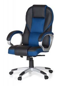 AMSTYLE Chefsessel RACE Leder Optik Blau / Schwarz bis 120kg, Bürostuhl mit synchronisierter Mechani