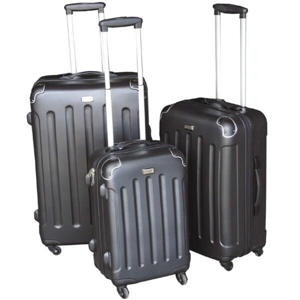 Trolley 3tlgSet schwarz ABS Hartschale Polycarbonat Koffer Kofferset Reisekoffer