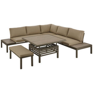 DINING-LOUNGESET Taupe, Champagner, Beige Aluminium