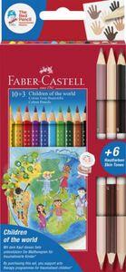 Faber-Castell, 10 Farbstifte Colour GRIP + 3 Doppelbuntstifte in Hautfarben