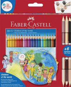 Faber-Castell, 20 Farbstifte Colour GRIP + 3 Doppelbuntstifte in Hautfarben