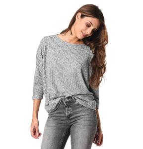 Tom Tailor Denim Fledermaus-Pullover, gerippt, weich,meliert, für Damen