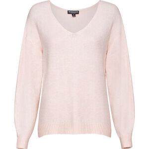 manguun collection Oversize-Pullover, V-Ausschnitt, glatter Strick, für Damen