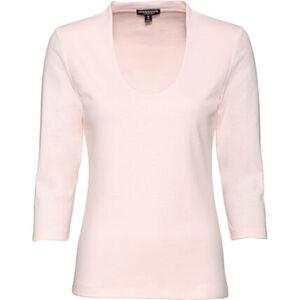 manguun collection Basic-Shirt, tiefer v-Ausschnitt, 3/4 Ärmel, für Damen