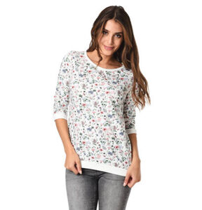 Tom Tailor Denim Sweatshirt, verkürzte Ärmel, floral, für Damen