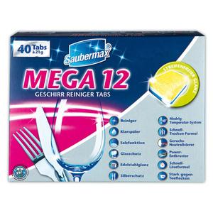 Saubermax Mega 12 Geschirr Reiniger Tabs