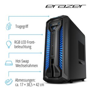 MEDION ERAZER® Bandit P10, Intel® Core™ i5-9400F, Windows 10 Home, GTX 1660, 512 GB SSD, 1 TB HDD, 8 GB RAM, Core Gaming PC