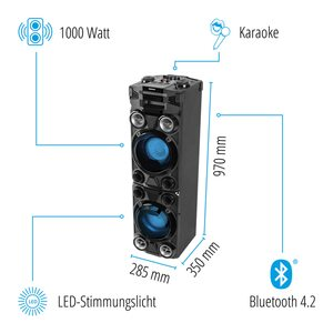 MEDION LIFE® X67015 Partylautsprecher, 1000 W max. Ausgangsleistung, PLL-UKW Stereo, farbige LED Lichter, LED-Display, Bluetooth® (B-Ware)