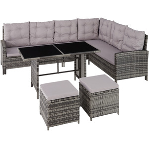 Rattan Lounge mit Stahlgestell Barletta grau