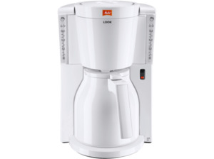 MELITTA 1011-09 Look IV Therm Kaffeemaschine mit Thermkanne mit Einhand-Bedienung und Durchbrühdeckel in Weiß