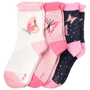 3 Paar Mädchen Socken mit Schmetterling-Motiv