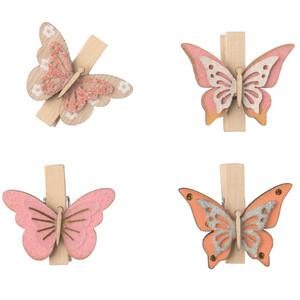 4 Deko-Clips im Schmetterling-Dessin