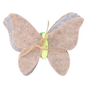 4 Filzuntersetzer im Schmetterlings-Dessin