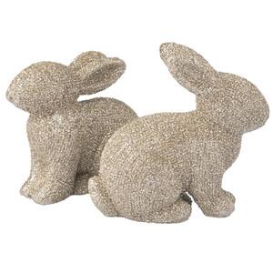2 kleine Deko-Hasen mit Glitzer