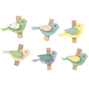 6 Deko-Clips im Vogel-Dessin