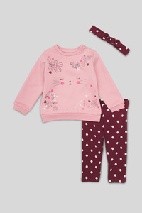 C&A Baby-Outfit-Bio-Baumwolle-3 teilig, Rosa, Größe: 98