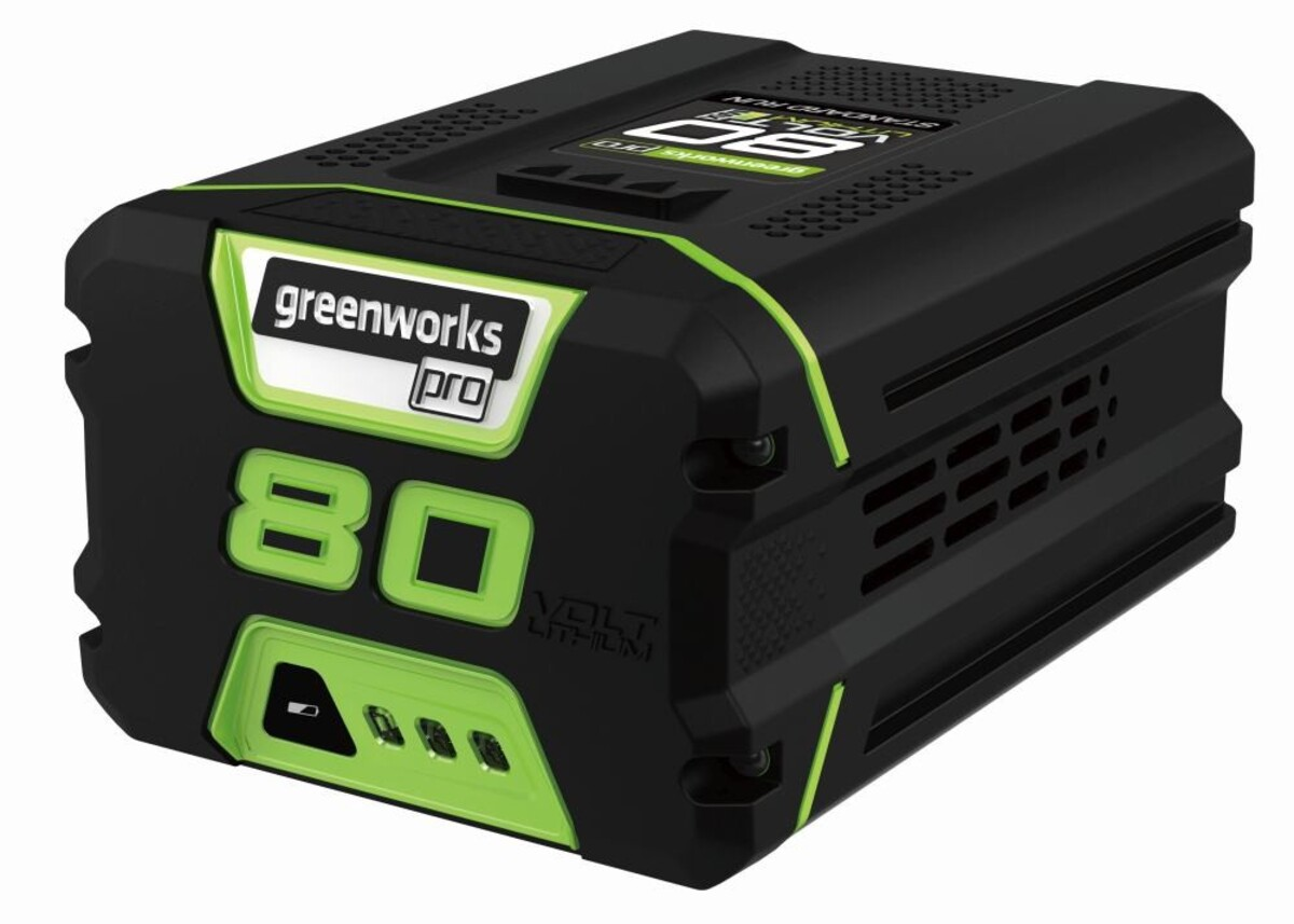 """Bild 1 von Greenworks Akku 80 V """"2 Ah, LED-Ladestandsanzeige, Gartengeräte und Werkzeuge"""""""