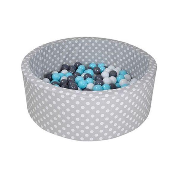 Knorrtoys     Bällebad soft - Grey white dots mit 300 Bällen grau/hellblau