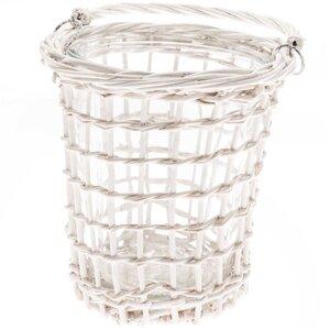 Windlicht Weide mit Glas weiß 18cm
