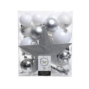 CHRISTBAUMKUGEL-SET 33-teilig Silberfarben, Weiß