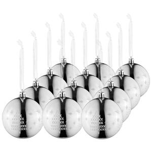 CHRISTBAUMKUGEL-SET 12-teilig Silberfarben