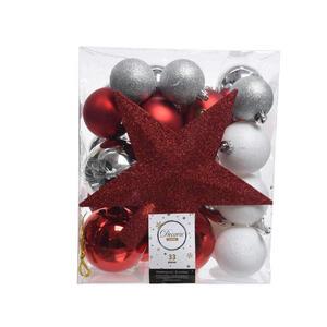 CHRISTBAUMKUGEL-SET 33-teilig Rot, Silberfarben, Weiß