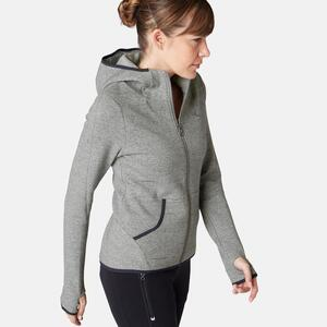 Kapuzenjacke 900 Gym & Pilates Damen grau