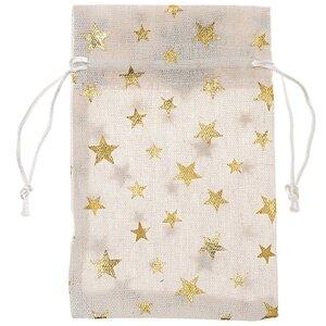 Beutel mit Sternen natur-gold 17x11cm