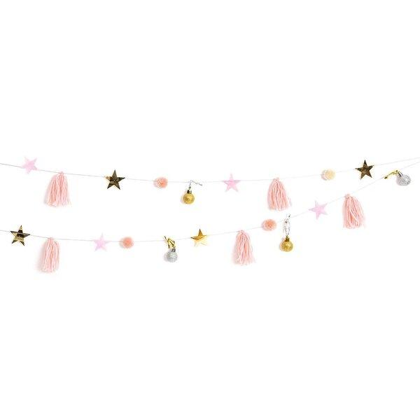 YEY! Let's Party Quasten-Girlande rosa-pastell 2,2m