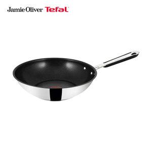 """Serie """"Jamie Oliver"""" Wokpfanne- hochglanzpolierter Edelstahl - mit widerstandsfähiger 6-Lagen-TEFAL-Prometal-Pro®-Antihaftversiegelung - ca. 28 cm Ø - je"""