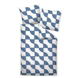 BETTWÄSCHE Makosatin Blau, Weiß 155/220 cm