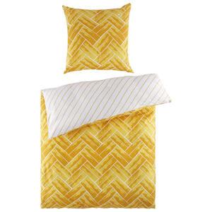 BETTWÄSCHE Satin Gelb, Weiß 135/200 cm