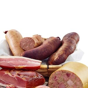 Wolf Original Thüringer Bauern-Rotwurst oder Bauern-Leberwurst geräuchert, in der Krause, je 100 g