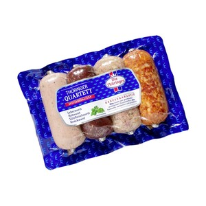 Thüringer Quartett bestehend aus: Leberwurst, Rotwurst, Knackwurst und Sülzfleischwurst, jede 400-g-SB-Packung