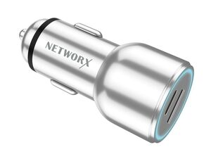 Networx Premium KFZ-Ladegerät, USB-C, USB-A, silber