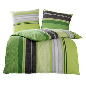 Dreamtex Renforcé-Bettwäsche 155x220 cm - Green Stripes apfel