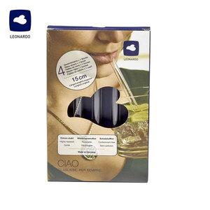Glastrinkhalme - 4er-Pack - je ca. 15 cm lang - inkl. Reinigungsbürste
