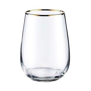 6x Glas mit Goldrand 590ml