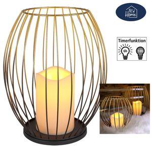 Metall-Laterne mit LED-Kerze 23,5cm Gold