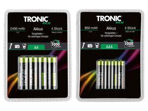 TRONIC® Akku »Ready 2 Use«, 4 Stück, Mignon-Ni-MH, wiederaufladbar, Metallkonstruktion