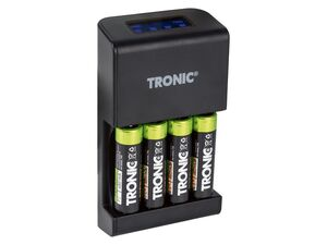 TRONIC® Akku Ladegerät »TRC 4 A1«, mit LCD-Ladeanzeige, USB-Ausgang, Timer-Funktion