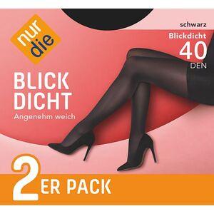 NUR DIE Strumpfhose 40 den, 2er Pack, in verschiedenen Farben und Größen - schwarz, Gr. 38-40