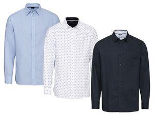 LIVERGY® Hemd Herren, Modern Fit, mit Rundhalsausschnitt, aus Baumwolle