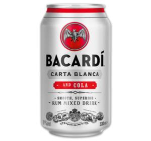 BACARDI & Cola*, BOMBAY DRY GIN & Tonic*, JIM BEAM Whisky & Cola oder Cola Zero