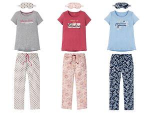 ESMARA® Lingerie Pyjama Damen, 3-teilig, mit Schlafmaske, mit Baumwolle, mit Viskose