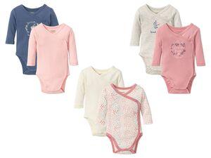 LUPILU® Baby Wickelbodys Mädchen, 2 Stück, mit Druckknöpfen, aus Bio-Baumwolle