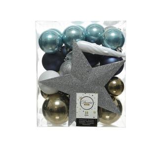 CHRISTBAUMKUGEL-SET 33-teilig Blau, Silberfarben, Weiß, Champagner
