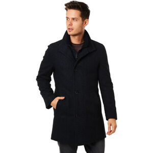 Bugatti Mantel, Woll-Anteil, Stehkragen, für Herren