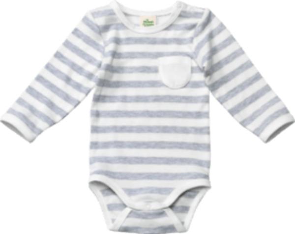 ALANA Baby Body, Gr. 62/68, in Bio-Baumwolle, grau, weiß, für Mädchen und Jungen