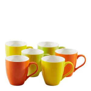 KAFFEEBECHERSET 6-teilig Keramik Porzellan Gelb, Grün, Orange